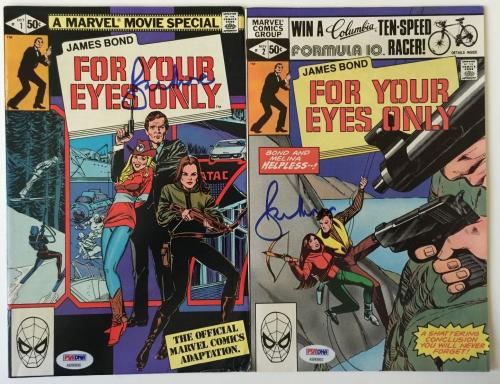 ROGER MOORE Signed JAMES BOND 007 For Your Eyes Only Comic Book Set PSA/DNA COA