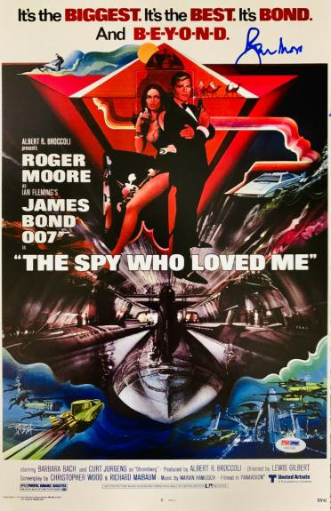 Roger Moore Signed James Bond 007 Movie Poster Photo 11 x 17 - PSA DNA COA 10