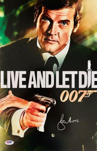 Roger Moore Signed James Bond 007 Movie Poster Photo 11 x 17 - PSA DNA COA 5