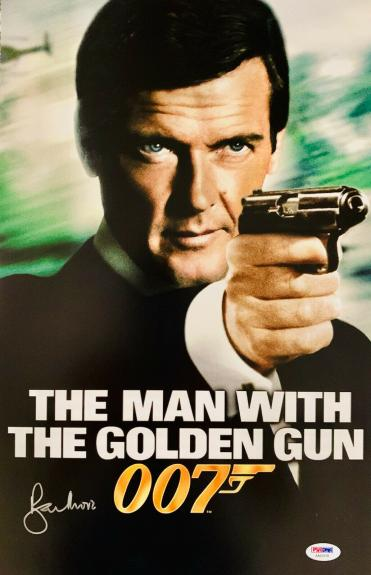 Roger Moore Signed James Bond 007 Movie Poster Photo 11 x 17 - PSA DNA COA 8