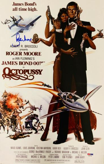 Roger Moore Signed James Bond 007 Movie Poster Photo 11 x 17 - PSA DNA COA 9