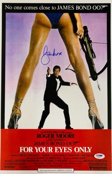 Roger Moore Signed James Bond 007 Movie Poster Photo 12 x 16 - PSA DNA COA 2