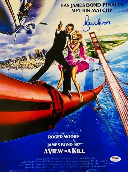 Roger Moore Signed James Bond 007 Movie Poster Photo 12 x 16 - PSA DNA COA 3