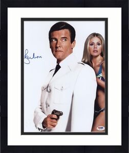 Roger Moore Signed James Bond 007 Photo 11x14 - Autographed PSA DNA 10