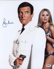 Roger Moore Signed James Bond 007 Photo 11x14 - Autographed PSA DNA Witness 10