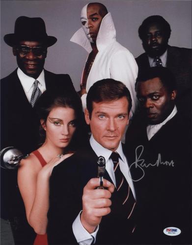 Roger Moore Signed James Bond 007 Photo 11x14 - Autographed PSA DNA Witness 11