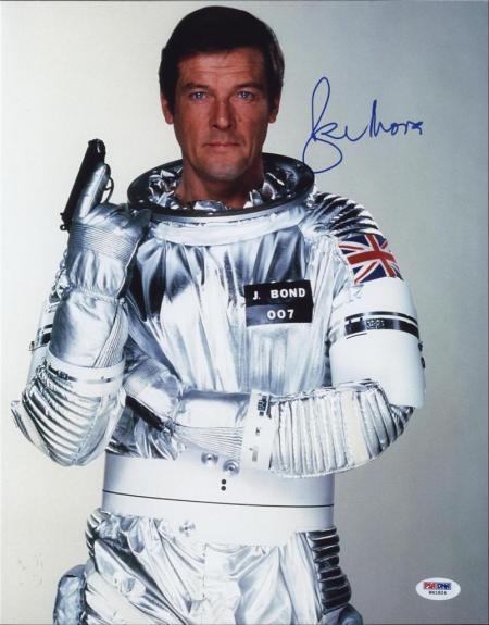 Roger Moore Signed James Bond 007 Photo 11x14 - Autographed PSA DNA 12
