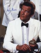 Roger Moore Signed James Bond 007 Photo 11x14 - Autographed PSA DNA Witness 15