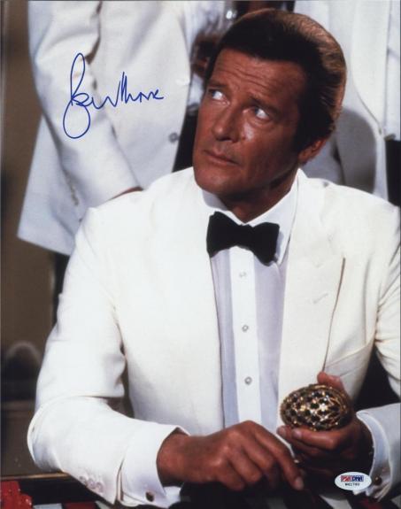 Roger Moore Signed James Bond 007 Photo 11x14 - Autographed PSA DNA 15