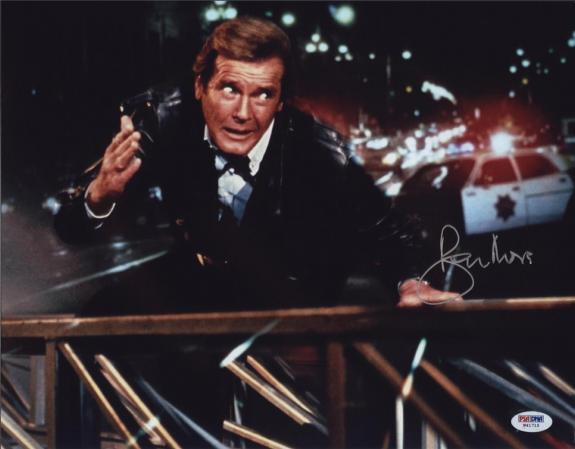 Roger Moore Signed James Bond 007 Photo 11x14 - Autographed PSA DNA 17