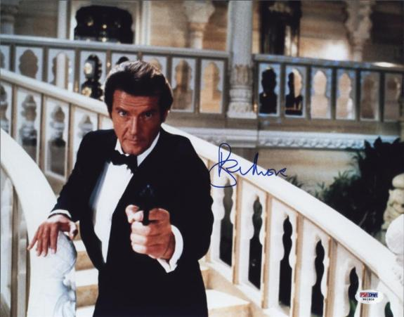 Roger Moore Signed James Bond 007 Photo 11x14 - Autographed PSA DNA 18