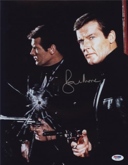 Roger Moore Signed James Bond 007 Photo 11x14 - Autographed PSA DNA 20