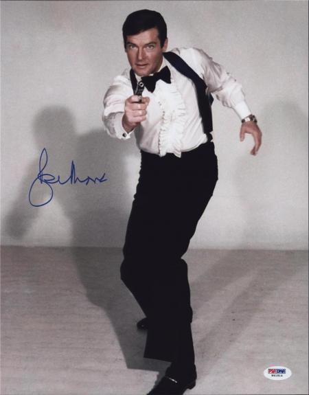 Roger Moore Signed James Bond 007 Photo 11x14 - Autographed PSA DNA Witness 21