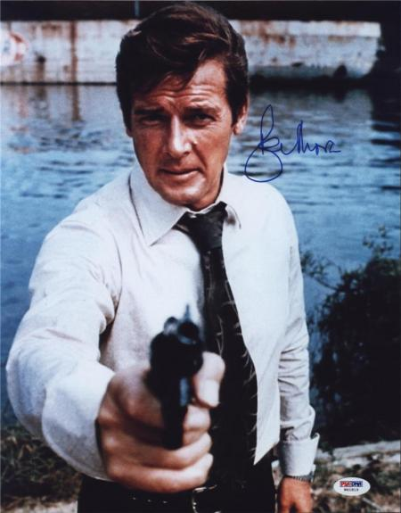 Roger Moore Signed James Bond 007 Photo 11x14 - Autographed PSA DNA 24