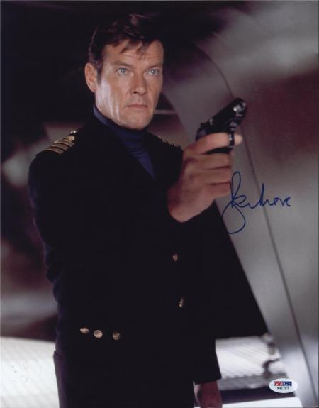 Roger Moore Signed James Bond 007 Photo 11x14 - Autographed PSA DNA 5