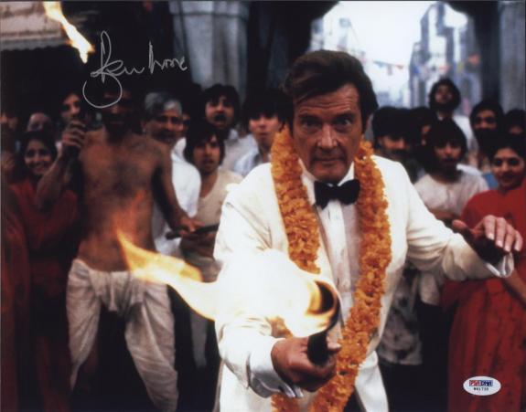 Roger Moore Signed James Bond 007 Photo 11x14 - Autographed PSA DNA 7