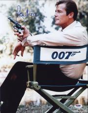 Roger Moore Signed James Bond 007 Photo 11x14 - Autographed PSA DNA Witness 9