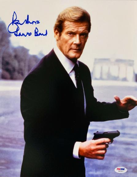 Roger Moore Signed James Bond 007 Photo 11x14 - Inscribed PSA DNA 23