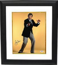 Roger Moore signed James Bond 11x14 Photo Custom Framed (yellow background)- PSA Hologram (entertainment/movie)
