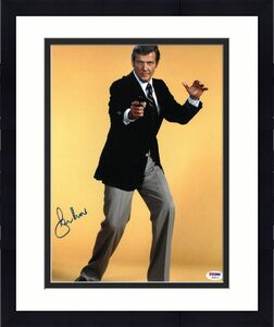 Roger Moore signed James Bond 11x14 Photo (yellow background)- PSA Hologram (entertainment/movie)