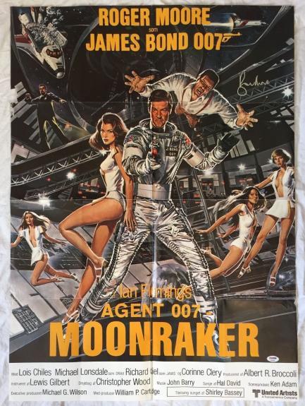 ROGER MOORE Signed JAMES BOND MOONRAKER 24x34 Original Movie Poster PSA/DNA COA