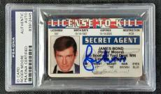 ROGER MOORE Signed License to Kill ID Card Replica Prop PSA/DNA #83912445