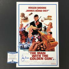 ROGER MOORE Signed MAN WITH THE GOLDEN GUN 11x17 Movie Poster BAS Beckett COA