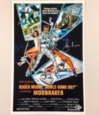 ROGER MOORE Signed MOONRAKER James Bond 11x17 Movie Poster Photo BAS Beckett COA