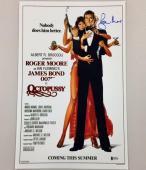 ROGER MOORE Signed OCTOPUSSY James Bond 11x17 Movie Poster Photo BAS Beckett COA