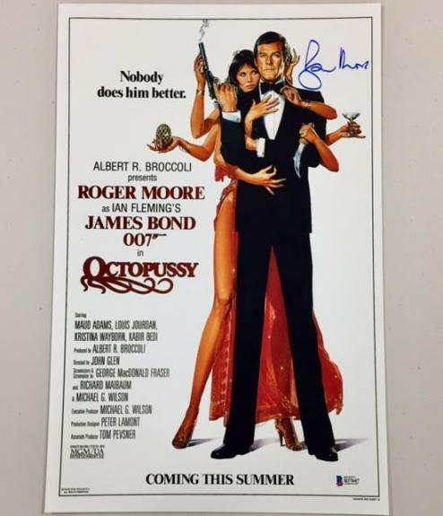 ROGER MOORE Signed OCTOPUSSY James Bond 11x17 Movie Poster Photo BAS Beckett COA