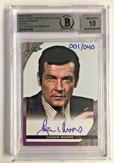 Roger Moore Signed The Roger Moore Coll. 001/040 2016 Leaf Bgs 10 Gem Mint Auto
