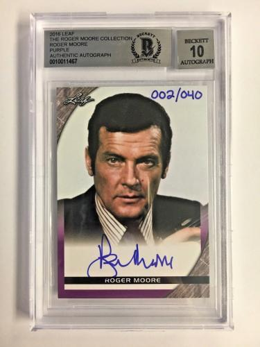 Roger Moore Signed The Roger Moore Coll. 002/040 2016 Leaf Bgs 10 Gem Mint Auto