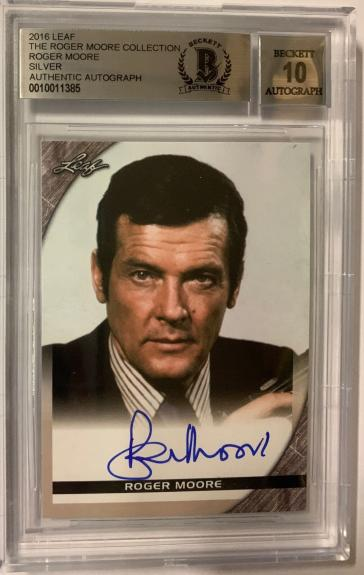 Roger Moore Signed The Roger Moore Collection 2016 Leaf Bgs 10 Gem Mint Auto