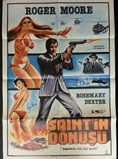 Roger Moore Signed Vendetta For the Saint 28x40 Original Movie Poster w/ PSA/DNA