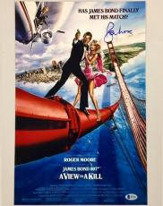 ROGER MOORE Signed VIEW TO A KILL 11x17 Movie Poster Photo BAS Beckett COA ~ 007