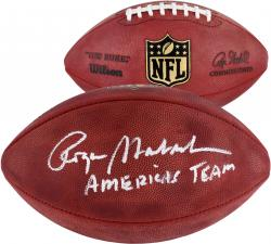 """Roger Staubach Autographed Duke Pro Football with """"American's Team"""" Inscription"""