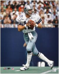 "Roger Staubach Dallas Cowboys Autographed 16"" x 20"" Drop Back Photograph with HOF 85 Inscription"
