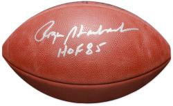 Roger Staubach Dallas Cowboys Autographed Pro Football with HOF 85 Inscription - Mounted Memories