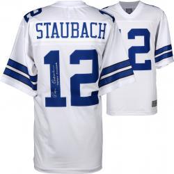 Roger Staubach Dallas Cowboys Autographed Proline White Jersey with Captain Comeback Inscription