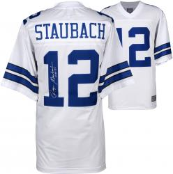 Roger Staubach Dallas Cowboys Autographed Proline White Jersey with HOF 85 Inscription