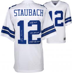 Roger Staubach Dallas Cowboys Autographed Proline White Jersey with Multiple Inscriptions