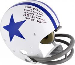 "Roger Staubach Dallas Cowboys Autographed White TK Suspension Helmet with ""Multiple"" Inscriptions"