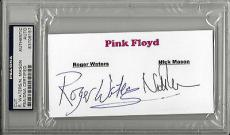 Roger Waters Nick Mason Signed Cut Pink Floyd Psa/dna Encapsulated 83706157