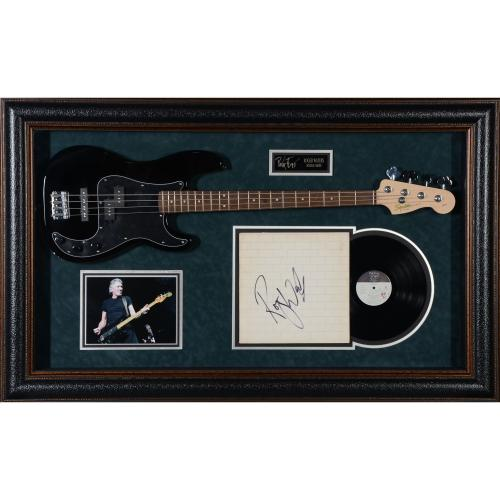 "Roger Waters Pink Floyd Framed Autographed 34"" x 55"" Vinyl Cover with Guitar and Namplate Display - PSA/DNA"