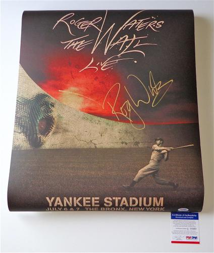 Roger Waters Pink Floyd Signed The Wall Live - Yankee Stadium Poster Psa Q60669