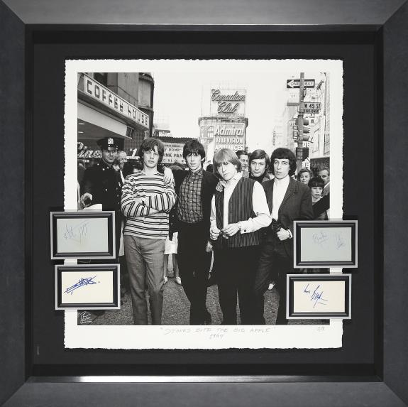 Rolling Stone giclée with four signature cards from all four band members Framed 39x39x3