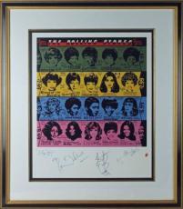 Rolling Stones (4) Jagger, Richards +2 Signed 20x24 Poster Framed Psa #v12081
