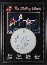 Rolling Stones (4) Jagger, Richards, Watts, Wood Signed Drumhead Display PSA/DNA