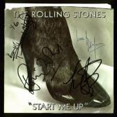 Rolling Stones (4) Richards, Wood, Watts, Wyman Signed Start Me Up 45 Album BAS