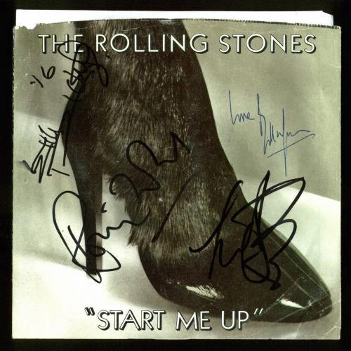 Rolling Stones (4) Richards, Wood, Watts, Wyman Signed Start Me Up 45 Album BAS